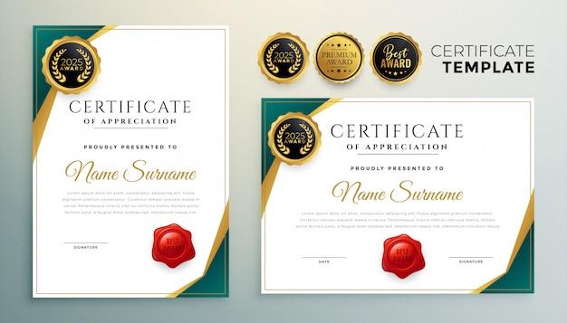 Certificado de reconocimiento creativo plantilla de diseño moderno.