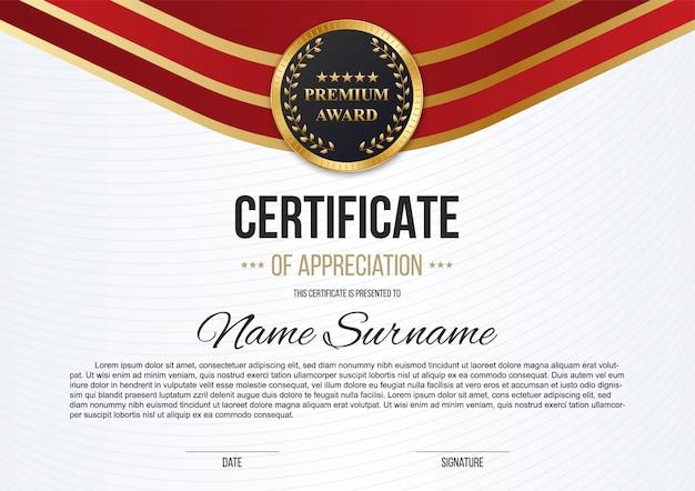 Certificado de reconocimiento, diploma de lujo.