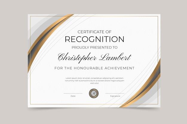 Certificado de reconocimiento elegante degradado