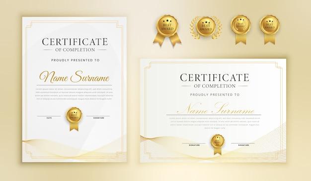 Certificado de reconocimiento finalización plantilla de borde de arte de línea ondulada dorada