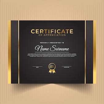 Certificado de reconocimiento con líneas oscuras y doradas.