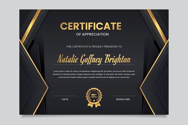 Certificado de reconocimiento de lujo dorado