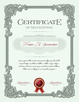 Certificado de reconocimiento de marco vintage de ornamento