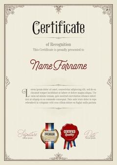 Certificado de reconocimiento en marco vintage