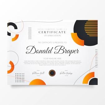 Certificado de reconocimiento moderno con formas de memphis