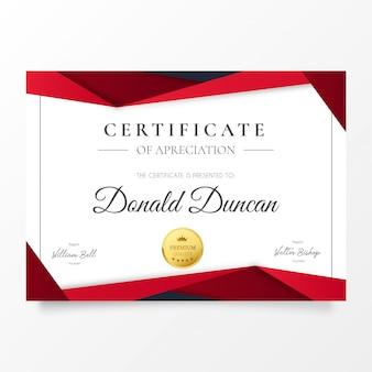Certificado de reconocimiento moderno con formas de papel rojo
