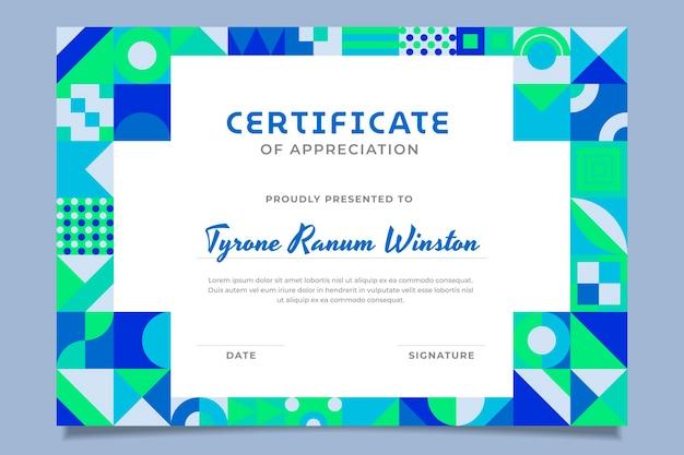 Certificado de reconocimiento de mosaico plano