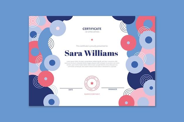 Certificado de reconocimiento plano moderno