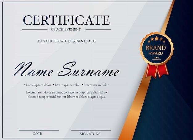 Certificado de reconocimiento, plantilla de diploma de premio. plantilla de certificado en colores dorados con medalla de oro. ilustración