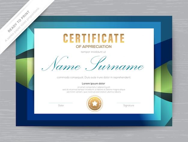Certificado de reconocimiento plantilla de diploma de premio