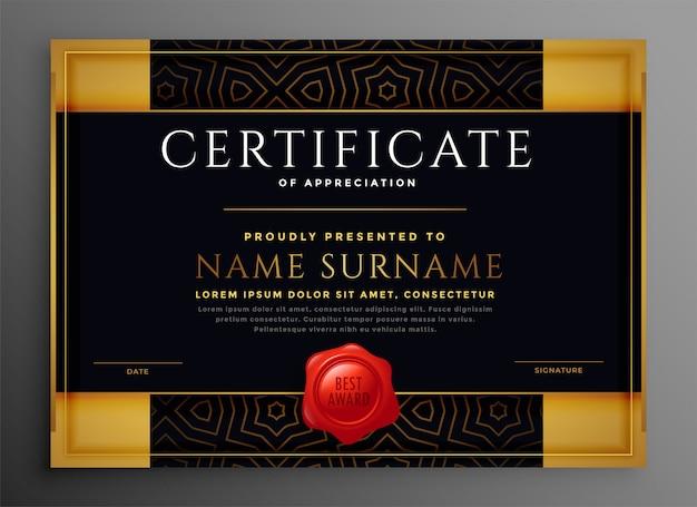 Certificado de reconocimiento plantilla premium dorado y negro