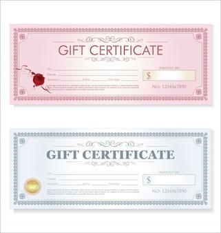 Certificado regalo cupón plantilla retro vintage diseño