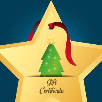 Certificado de regalo en forma de estrella con el icono del árbol de navidad