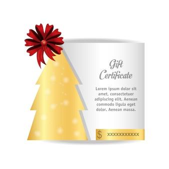 Certificado de regalo con el icono del árbol de navidad
