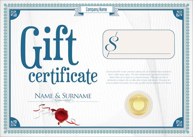 Certificado de regalo con sello de oro y borde de diseño.