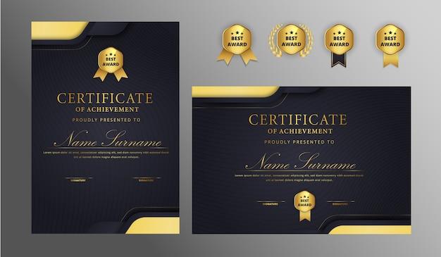 Certificado simple y elegante con insignia y plantilla de vector de borde a4