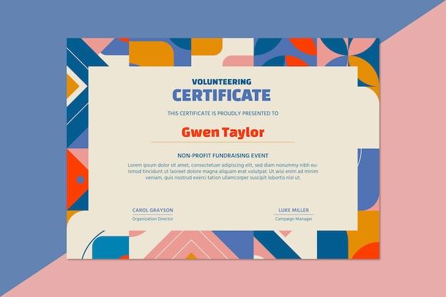Certificado de voluntariado sin fines de lucro de recaudación de fondos geométricos