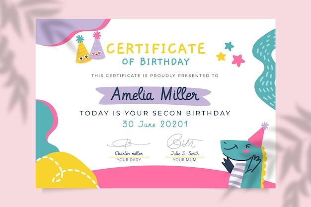 Certificados de cumpleaños infantiles abstractos