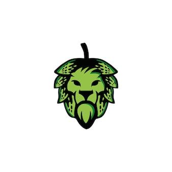 Cervecería con plantilla de diseño de logotipo de león