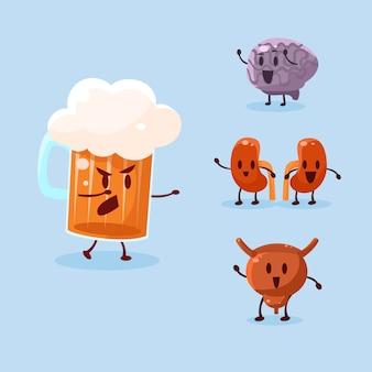 Cerveza y alcohol perjudicial. conjunto de ilustraciones