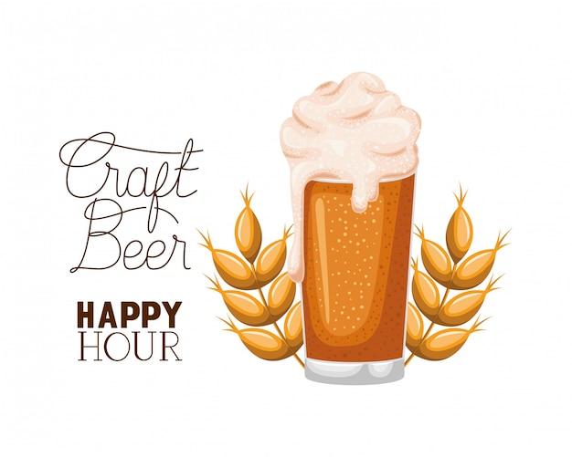 Cerveza artesanal happy hour etiqueta vidrio