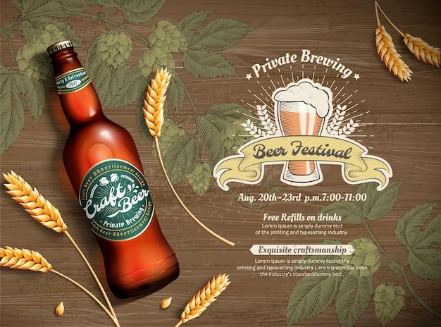Cerveza artesanal y trigo en 3d ilustración sobre fondo de flor de lúpulo grabado, vista superior de la mesa de madera