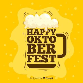 Cerveza de barril oktoberfest plana con letras