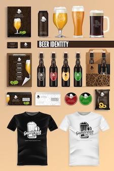 Cerveza bebida identidad marca maqueta conjunto vector.