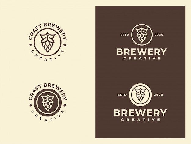 Cerveza, cervecería, king brewery, royal beer hipster logo set