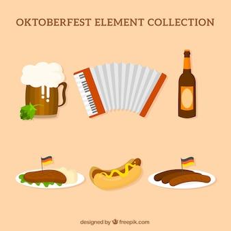 Cerveza y comida alemana con acordeón
