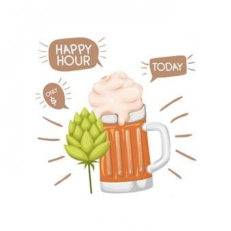 Cerveza con espuma y piña aislada icono