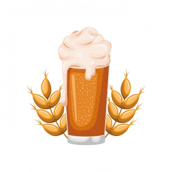 Cerveza con espuma y trigo aislado icono