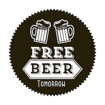 Cerveza gratis mañana ilustración estilo vintage ilustración vectorial