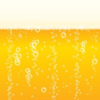Cerveza lager espumosa de fondo con burbujas