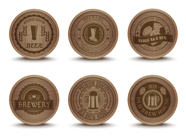 Cerveza de madera emblemas esteras iconos conjunto
