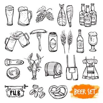 Cerveza negro doodle iconos conjunto