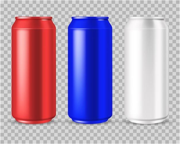 Cerveza o bebida energética lata de aluminio en blanco en rojo
