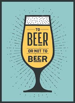 A cerveza o no a texto de cerveza en un vaso con rayos de sol sunburst.
