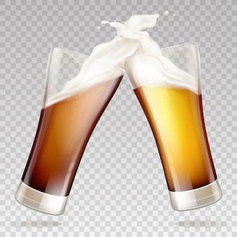 Cerveza oscura en copas transparentes.