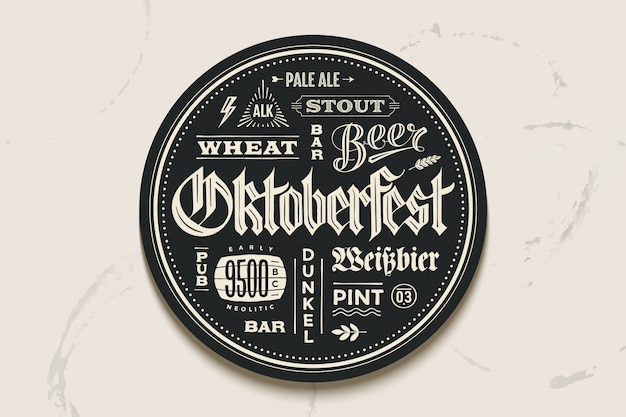 Cerveza posavasos con letras para el festival oktoberfest