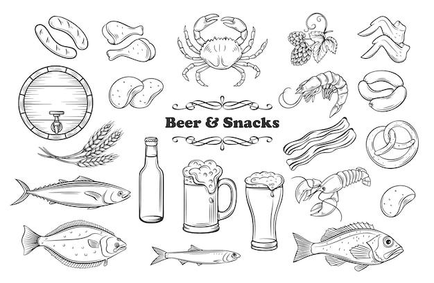Cerveza y snacks. iconos de la tienda de pub. carne, pescado, patatas fritas y cerveza en botella o vaso. concepto de alcohol y merienda.