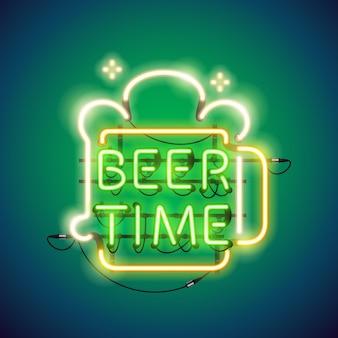Cerveza tiempo signo de neón