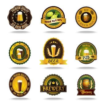 Cerveza vieja etiquetas iconos conjunto de colores