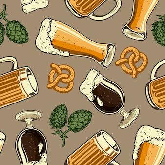 Cerveza vintage de patrones sin fisuras