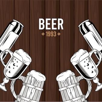 Cervezas jarras y tazas de bebidas en madera, diseño de ilustraciones