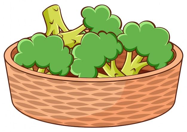 Cesta de brócolis sobre fondo blanco.