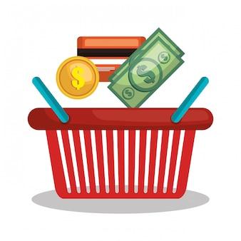 Cesta de comercio electrónico tienda online de diseño.