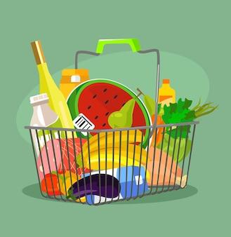 Cesta de comida. ilustración de dibujos animados plano de vector