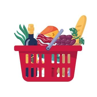 Cesta de comida roja llena de plástico aislado dibujos animados planos de productos comestibles.