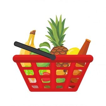 Cesta de la compra con alimentos. ilustración de dibujos animados de vector aislado